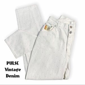 Pulse Rodeo White Polka Dot High Waisted Jeans